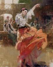 "Pino ""Flamenco in Red"" Spanish Dancer Sold Out Ed. Giclee on Canvas HS/# 46x36"