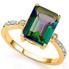 Green Mystic Topaz Diamond Ring .925 Sterling Silver/Platinum Size 7