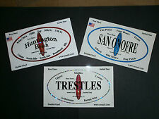 """(3) HUNTINGTON, TRESTLES, SAN ONOFRE SURFING SURFBOARD """"SURFED THAT"""" STICKERS"""