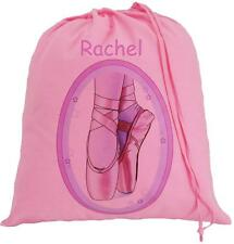PERSONALISED - BALLET SHOES - LARGE PINK COTTON DRAWSTRING BAG  - Add your name!