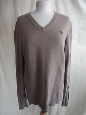 Mens Jumper - Abercrombie & Fitch, size L, cotton mix, light brown, used - 0975