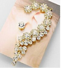Gold and Crystal Floral Ear Cuff