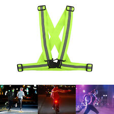 LED Light Up Safety Reflective Stripes Running Walking Cycling Night Sport Vest