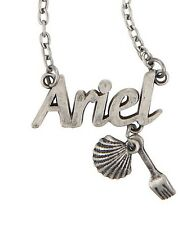 Disney The Little Mermaid Ariel Name Plate Shell & Fork Necklace NWT!