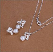 Butterfly Pearl Earrings And Necklace Jewelry Rhinestone Set (A30)