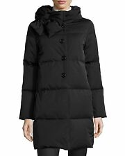 NWT $698 KATE SPADE Black Funnel Neck Bow Detail Down Puffer Coat - L Large