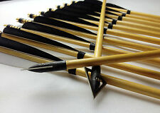 12X Hunting Broadhead Wood Arrow Archery Turkey Feather For Recurve Compound bow