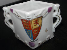 TWIN-HANDLED DIAMOND SHAPE POSY VASE  ?BRITISH CREST  AND NORWICH  NO MAKER