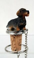 DACHSHUND Wire Haired Dog Hand Painted Resin Figurine Wine Bottle Stopper