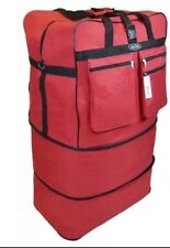 "30""RED Expandable Rolling Luggae Duffle Bag W/Spinner Wheels UnZips Upto 3 Sizes"