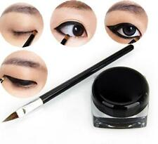Pro Waterproof Eye Liner Eyeliner Shadow Gel Makeup Cosmetic + Brush Black