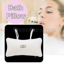 Inflatable Relaxing Bath Pillow Spa Cushion White With 2 Suction Cups Head Rest