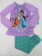 DISNEY GIRLS 2 PC SET PRINCESS JASMINE FLORAL TOP & PANTS PJS PAJAMAS 5/6 NWT