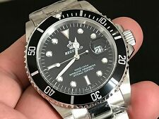 JAPAN MOV'T NEW REGINALD SUBMARINER STYLD DATE S/S QUARTZ MEN'S WATCH