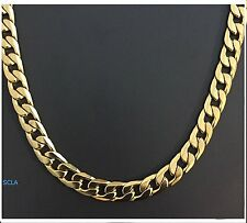 Gold chain necklace 10mm Smooth Cuban Curb Link 24K Real Gold Plated LIFE TIME