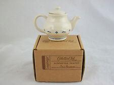 Longaberger Miniature Pottery Teapot Classic Blue NIB