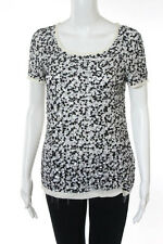 DKNY Cream Silk Short Sleeve Sequin All Over Embellished Top Size Petite