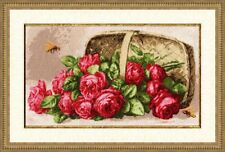 GOLDEN FLEECE COUNTED CROSS STITCH KIT ROSES IN THE BASKET  FLOVERS EMBROIDERY
