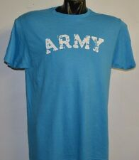 ARMY VINTAGE DESTROYED LETTERS HEATHER  BLUE T-SHIRT- LARGE
