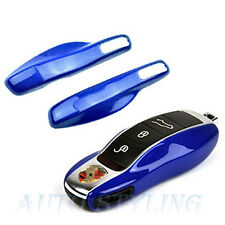 Gloss Blue Key Fob Cover Keyless Remote Case Casing Side Replacement Car Porsche
