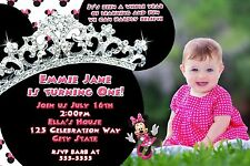 Minnie Mouse 1st  Birthday Party Invitation with glittery diamond Crown