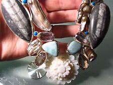 925 silver dramatic 235gr orthoceras fossils, larimar & cut gemstones necklace.