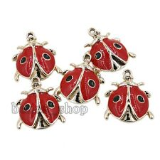 10Pcs Hot  Red Enamel Alloy Plated Ladybird Pendants Charms Jewelry Crafts BS