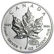 2000 1 oz Silver Canadian Maple Leaf Coin - Brilliant Uncirculated - SKU #11065