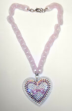 NEW Fabulous TARINA TARANTINO Pink BOW CRYSTAL HEART PENDANT/Necklace