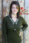 Metis Sweater Etchiboy Chandail Olive Green Alpaca Wool Laine Bell Shape S-XXL