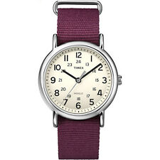 Timex Weekender Cream Dial Purple Strap Indiglo 24-Hour Time Casual Watch T2P235