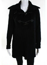 RALPH LAUREN BLUE LABEL Black Wool Ribbed Collared Leather Toggle Cardigan Sz S