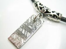"""19x9.8mm TAG GIBEON METEORITE STERLING SILVER PENDANT 20"""" LEATHER CORD NECKLACE"""