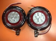 "2 RED LED 4"" Round Truck Trailer Stop Turn Tail Flange Mount Lite W/ CLEAR LENS"