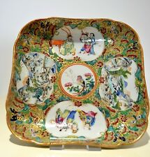 Rare Antique Chinese Famille Rose Figural Square Shape Plate Dish Qing 19th C