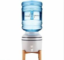 Water Dispenser Ceramic Crock Beverage Drink Cooler Wooden Stand
