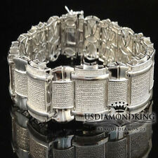 MEN'S THICK 1.5 CARAT 100% REAL GENUINE DIAMOND 14K WHITE GOLD FINISH BRACELET