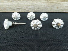 Old World Vintage Distressed White & Silver Metal Knob - Drawer Pull Home Decor