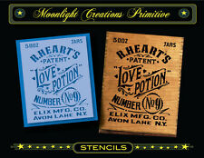 Primitive Stencil~Vintage~LOVE POTION No 9 ~2013~Old Victorian Crate Sign Style