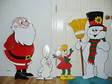 4-PC. SET. FROSTY THE SNOWMA , GIRL, RABBIT, & SANTA CLAUSE CHRISTMAS YARD ART