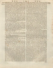 1797 georgiano treatise/article ~ Tejer Telar equipos Placa + página de texto