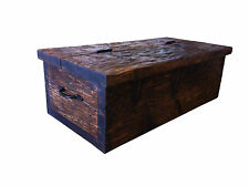 Old wooden vintage plank style chest box trunk coffee table antique tudor oak