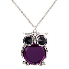 Cute Owl Style Purple Crystal Inlay Tibet Silver Jewelry Sweater Chain Necklace