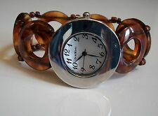 Women's  Designer Style stretch band silver finish /Tortoise Shell Fashion watch