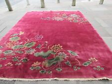 Antique Hand Made Rug Art Deco Chinese Oriental Carpet Red Pink Wool 350x270cm