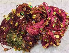 hand dyed gold teardrop sequins holographic coneflower 75 yds yarn scarf