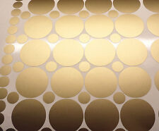 70 Gold polka dots stickers, in set 2 sizes, circle decals, removable wallpaper