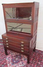 ANTIQUE RAISED PANEL BARRISTER BOOKCASE OVER FLAT FILE CABINET BY YAWMAN & FRBE
