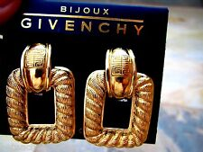 Vintage Givenchy Clip Earrings Chunky Gold Door Knocker Rope Modernist NEW