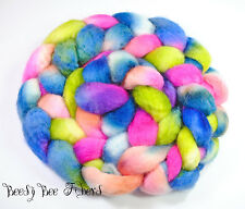 Blue Face Leicester Wool Roving Hand Painted Combed Top Spinning Felting Fiber